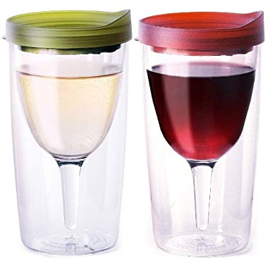 Vino2Go Double Wall Acrylic Tumbler with Merlot and Verde Lids, 10 oz, Pack of 2