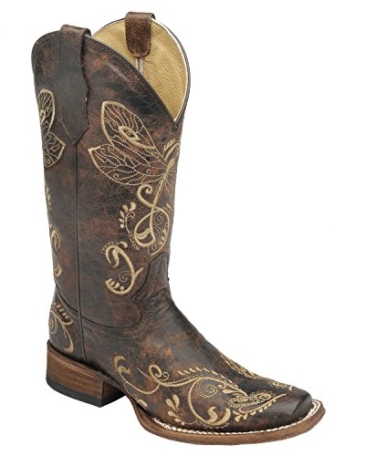 Corral Women's Circle G Distressed Bone Dragonfly Embroidered Square Toe Western Boot