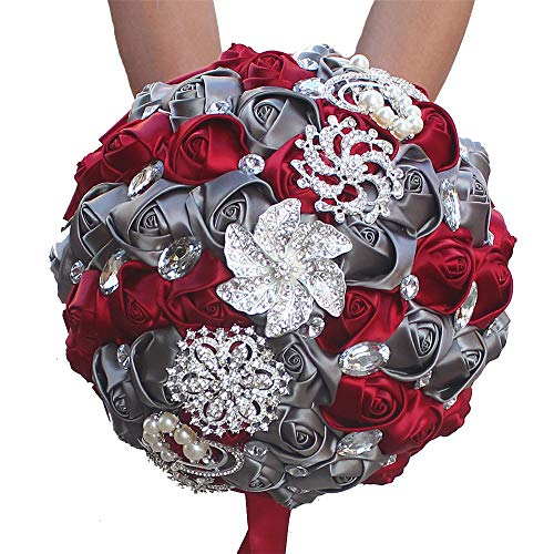 Sdcvopl Holding Flowers Multi Color Romantic Bride Wedding Holding Bouquet- Peal Ribbon Wedding Flower-Bridal Bouquet Flower Wedding Bride Holding Flowers (Color : Wine red+Gray)