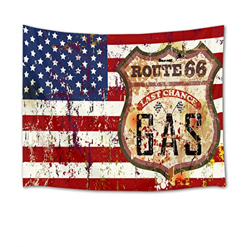 (HVEST American Flag Tapestry Route 66 Wall Hanging Vintage Western Tapestries for Bedroom Living Room Dorm Wall Decor Dinning Tablecloth,60Wx40H inches)