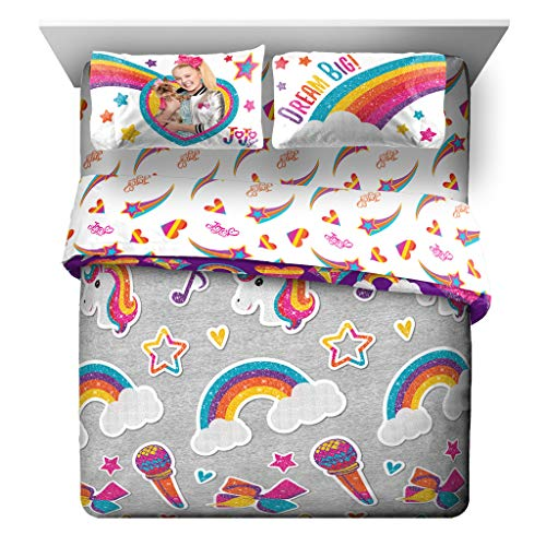 Jay Franco Nickelodeon JoJo Siwa Rainbow Sparkle 7 Piece Queen Bed Set – Includes Reversible Comforter & Sheet Set Bedding – Super Soft Fade Resistant Microfiber – (Official Nickelodeon Product)