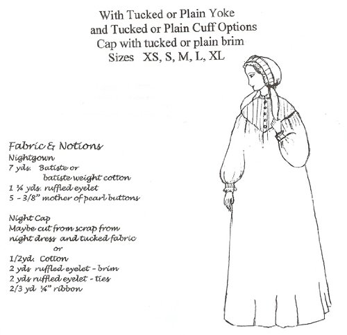 Vintage Inspired Nightgowns, Robes, Pajamas, Baby Dolls Victorian / American Civil War Night Dress and Night Cap Pattern $18.95 AT vintagedancer.com