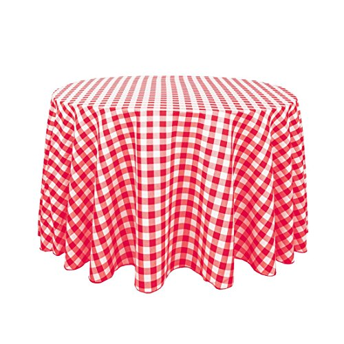 LinenTablecloth 108-Inch Round Polyester Tablecloth Red & White Checker (Red Checker)