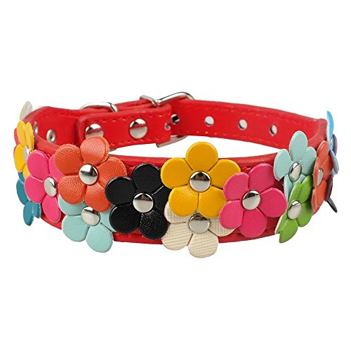 Beirui Cute PU Leather Dog Collar Adorable Flowers Neck ()