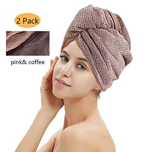 2 Pack Hair Drying Towels, Hair Wrap Towels, Super Absorbent Microfiber Hair Towel Turban with Button Design to Dry Hair…