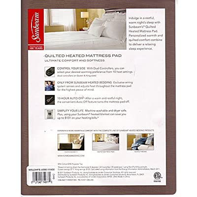 Sunbeam MA7250-030-000 Dynasty Comfort Heated Mattress Pad