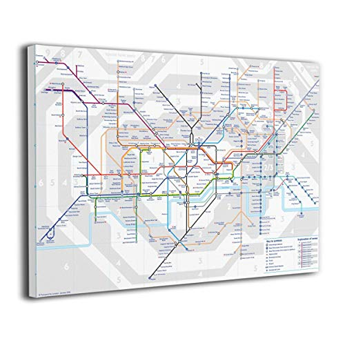 Robprint London Underground Map Tube Lines Art Prints Giclee Artwork Home Decorations for Living Room Office Kitchen Stretched and Framed 20