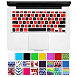 """DHZ Unique Ultra Thin Durable Keyboard Cover Silicone Skin for MacBook Pro 13"""" 15"""" 17"""" (with or w/out Retina Display) iMac and MacBook Air 13"""" (Red and Black mosaic Checkered)"""