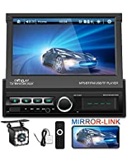 """EKAT Single DIN Car Stereo 7"""" HD Touch Screen Car Head Unit Support Bluetooth GPS Mirror Link FM/USB/SD/MP5/Hands-free,Backup Camera and Remote Control"""