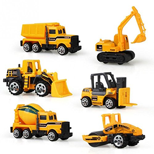 6pcs/set Alloy Engineering Car Tractor Toy Model Farm Vehicle Belt Boy Toy Car Model Children Birthday Day Xmas Gifts