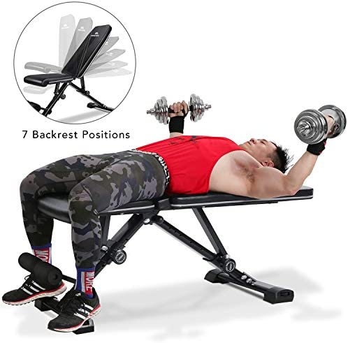 MaxKare Adjustable Weight Bench Foldable Workout Exercise Bench with Truly 33.5 Backrest, Automatic Lock, 7 3 2 Positions, Multi-Purpose 882 lbs Incline Decline Folding Bench