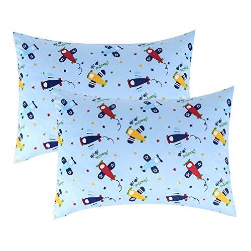 IBraFashion Toddler Pillowcases for Boys 100% Cotton 14x19 For 13x18, 12x16 Pillow Airplanes Printings Blue Set of 2