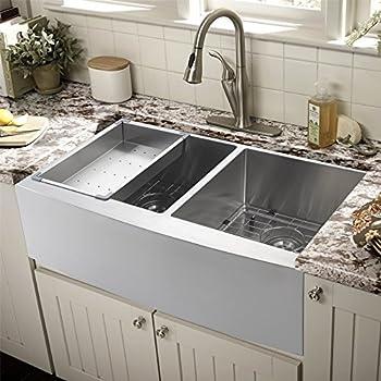 60 40 Kitchen Sink 36 apron farmhouse 6040 double bowl 16 gauge kitchen sink 36x21 inch farmhouse apron 6040 double bowl 16 gauge stainless steel kitchen sink workwithnaturefo