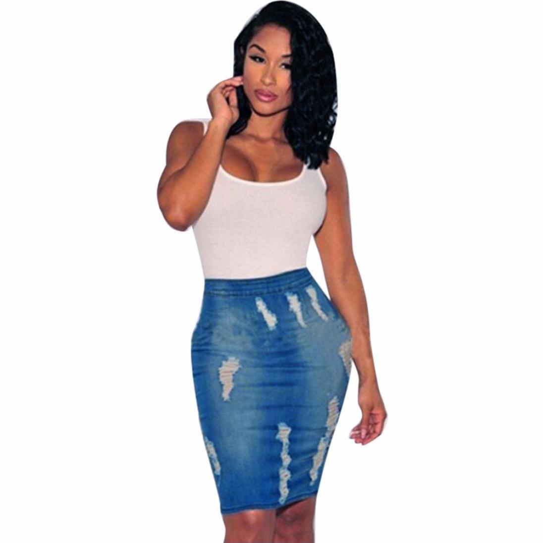 RTYou New Style Women Stretch Bodycon Pencil Skirt High Waisted Hole Denim Jeans Short Mini Skirt (Blue, M)