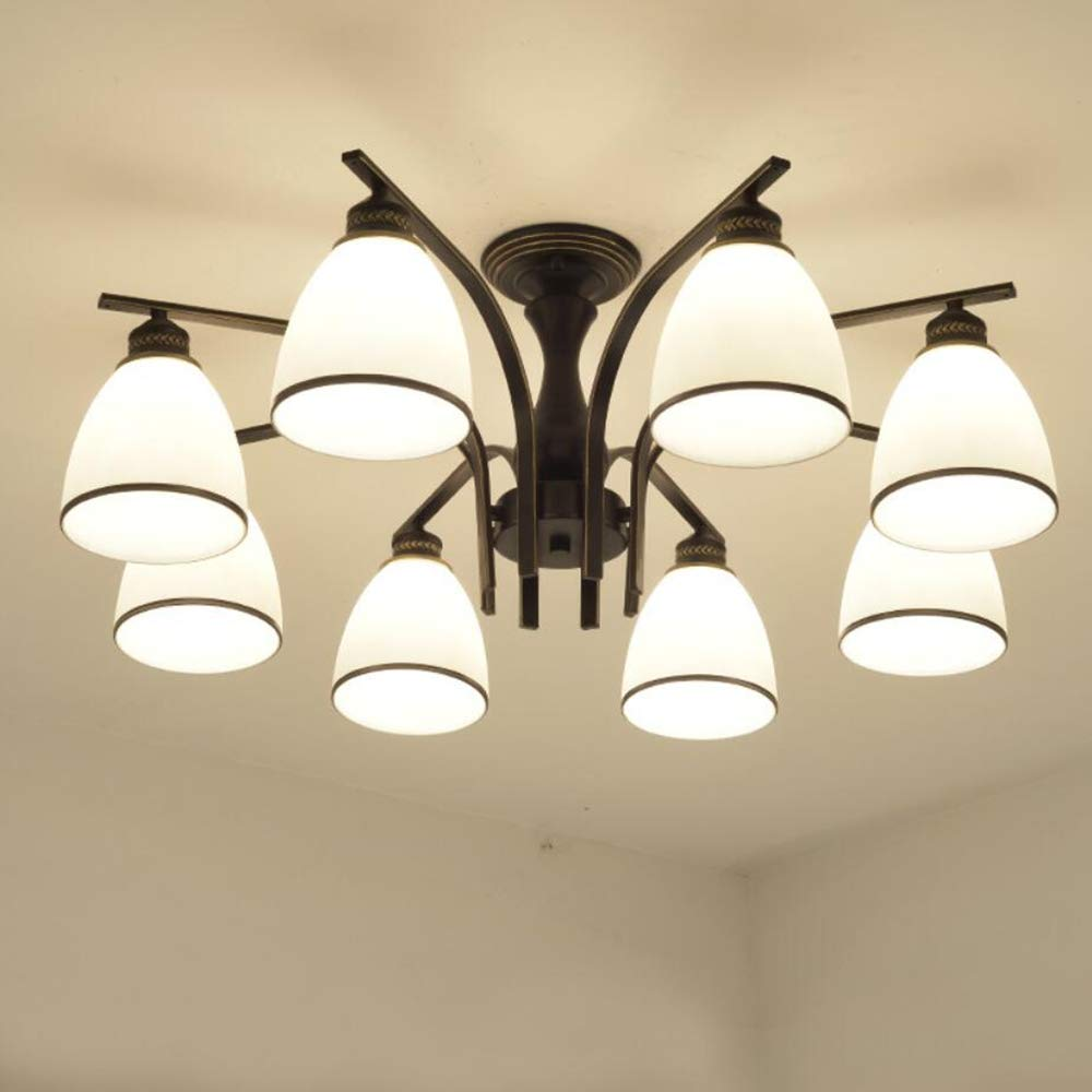 Joypeach LED Retro Iron Living room Ceiling Lights Fixtures Bedroom Ceiling Lights Flush Mount With 8 Lights Ceiling Lights For Kitchen (110V)