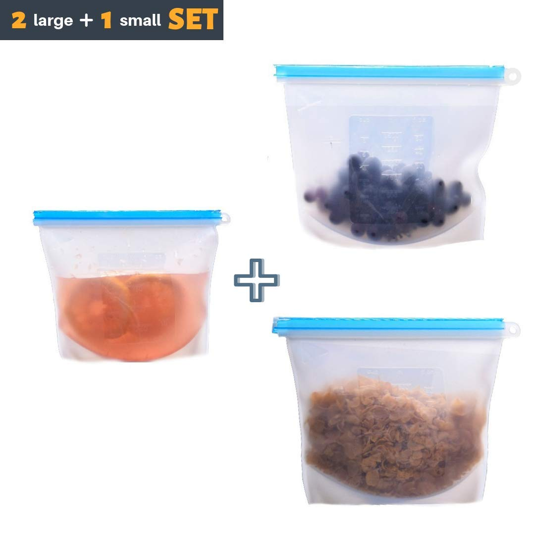 Reusable Food Storage Bag - Set of 3. Airtight Zip Seal. LARGE SIZE 50oz. Bags keep your food fresh. Great for lunch, snack, fridge, cooking. Best for freezing and storing liquids