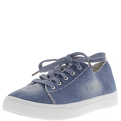 Baskets ville femme bleues jean foncé avec griffures en toile