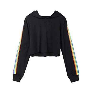 25856439eca385 Amazon.com: vermers Womens Fashion Long Sleeve Rainbow Striped Hoodie  Sweatshirt Women Casual Crop Jumper Hooded Pullover Tops: Clothing