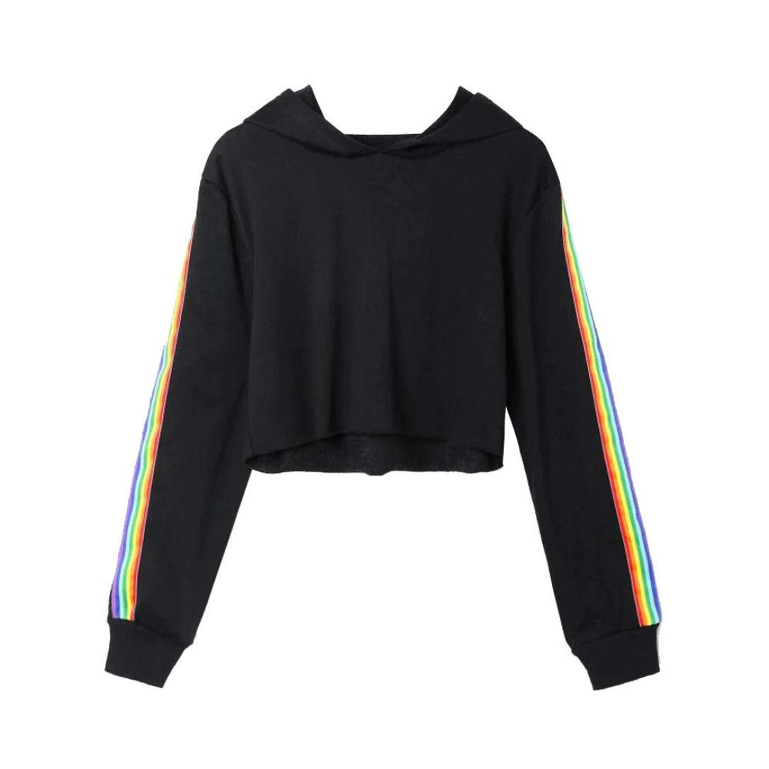 Spbamboo Womens Long Sleeve Rainbow Patchwork O Neck Sweatshirt Blouse Pullover