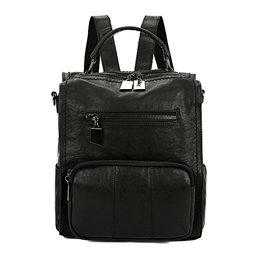 Mynos Women Backpack Purse Leather Handbag Bag Ladies Rucksack Travel Tote Shoulder Bag (Black) Backpack Style Handbag