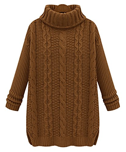 IDIFU Women's Split Turtleneck Long Sleeve Cable Knit Pullover Sweater Camel M
