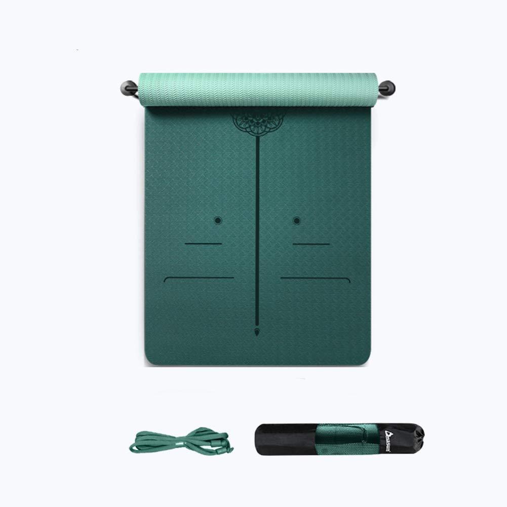 UKIYES TPE グリーン ヨガマット 滑り止め ピラティス パッド 厚手 幅広 フィットネス マット ホーム フロア エクササイズ マット-J 6mm   B07QNMPS6H