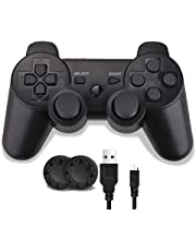 PS3 Controller, Wireless PS3 Controller Double Shock Gamepad for Playstation 3, Sixaxis Controller with Charging Cable and Thump Grips