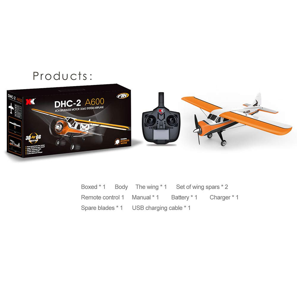 COLOR-LILIJ XK DHC-2 A600 4CH 2.4G Brushless Motor 3D6G RC Airplane 6 Axis Glider,High efficient brushless Motor,Suit for Beginner. by COLOR-LILIJ (Image #3)