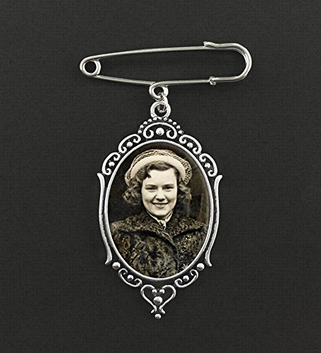 Boutonniere Memorial Photo Charm Pin Set For Groom Father or Mother Of the Bride Groomsmen ()