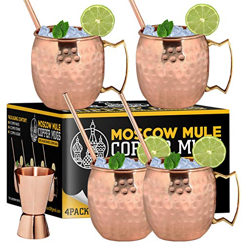 - Moscow Mule Copper Mugs - Set of 4-100% HANDCRAFTED - Food Safe Pure Solid Copper Mugs - 16 oz Gift Set with BONUS: Highest Quality Cocktail Copper Straws and Jigger! (Copper)