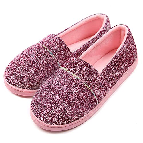 ChicNChic Women Comfortable Cotton Knit Anti-Slip House Slipper Washable Slip-On Home Shoes (Small/ 6-6.5 B(M) US, Red) ()