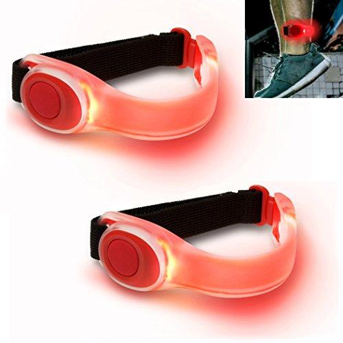 AVENTI - 2x brassards lumineux avec ampoules LED étanches rouges - Pour course à pied, cyclisme, jogging et marche en sécurité