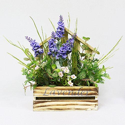 Puleo International Artificial Flower Arrangement in Wood Planter Potted Plant