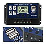 BougeRV 30A Solar Charge Controller Solar Panel Battery Regulator 12V/24V with Dual USB Port Display [ Updated Version ]