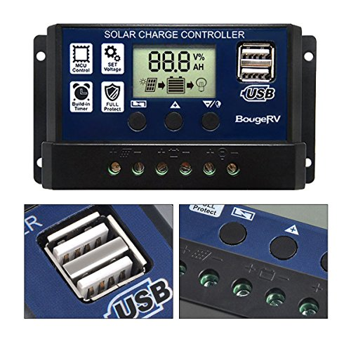 BougeRV 30A Solar Charge Controller Solar Panel Battery Regulator 12V/24V with Dual USB Port Display [ Updated Version ] by BougeRV