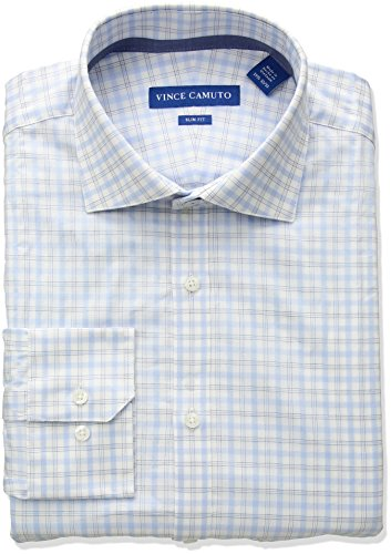 - VINCE CAMUTO Men's Slim Fit Windowpane Dress Shirt, Light Blue, 17 34/35