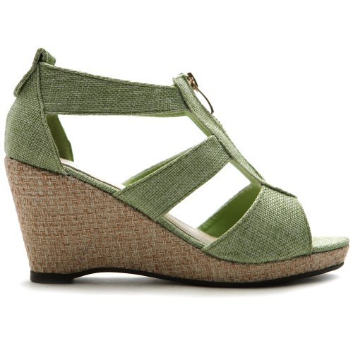 Ollio Women's Shoe Front Zipper Wedge High Heel Strap Sandal ZM7962(7 B(M) US, Green)