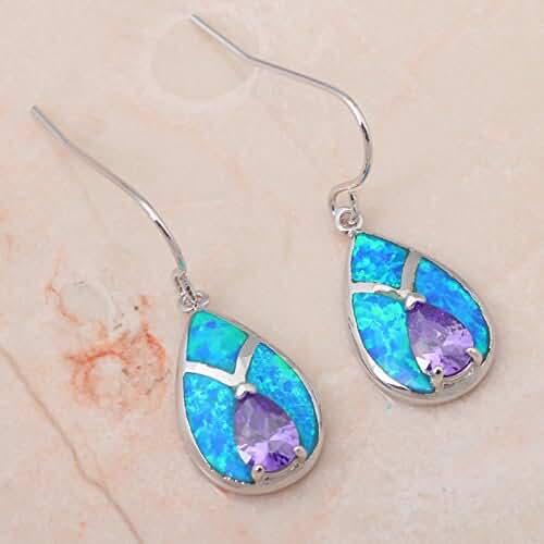 Chokushop Desinger Water Drop style Retail Amethyst Blue Fire Opal 925 Silver Drop Earrings Fashionl Jewelry OE221A