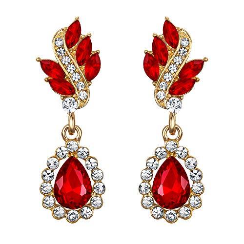 EleQueen Women's Austrian Crystal Art Deco Tear Drop Dangle Earrings Pierced Gold-tone Ruby Color