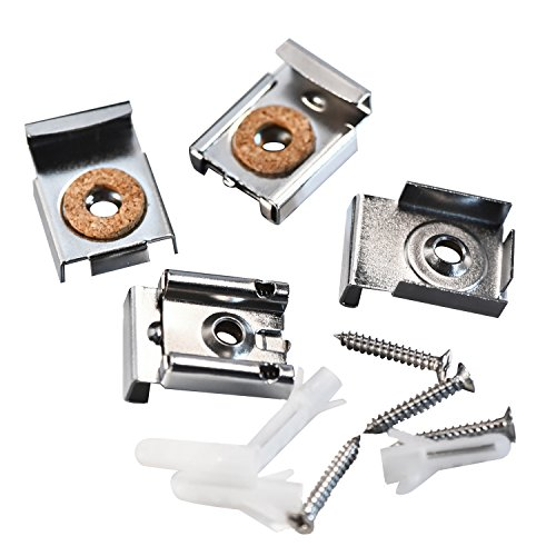 Shappy 2 Sets (8 Pieces) Spring Loaded Mirror Hanger Clips Set Unframed Mirror Mount Clips with Rawl Plugs and Screws ()