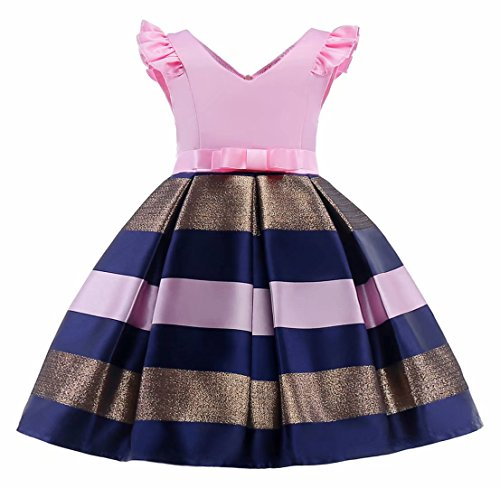 AYOMIS Litter Big Girl Dress Princess Gowns Party Wedding Dresses(Pink,4-5Y)]()