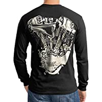 Custom Engine Motorcycle Club Men T Shirt Longsleeve Black