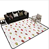 Household Decorative Floor mat,Summertime Inspired Watercolor Pattern with Yummy Dessert Ice Lolly and Cone 6'6''x8',Can be Used for Floor Decoration