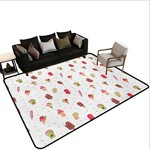 Household Decorative Floor mat,Summertime Inspired Watercolor Pattern with Yummy Dessert Ice Lolly and Cone 6'6''x8',Can be Used for Floor Decoration by BarronTextile (Image #6)
