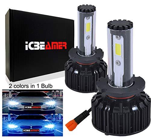 ICBEAMER LED COB Headlight Bulb Low Beam Can Replace OEM HID D2S D2C D2R Lamps [Color:6000K White + 30000K Dark Blue]