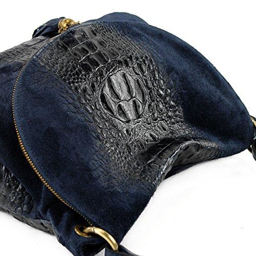 modamoda de - ital. Bolsa para mujer, de hombro, para piel ante/cocodrilo T68 Dunkelblau Wildleder/Kroko