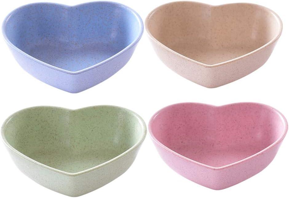 Cabilock 4 Piezas Platos de Salsa de Paja de Trigo Plato de Condimento en Forma de Coraz/ón Plato de Aperitivo Plato de Inmersi/ón de Alimentos Color Mixto