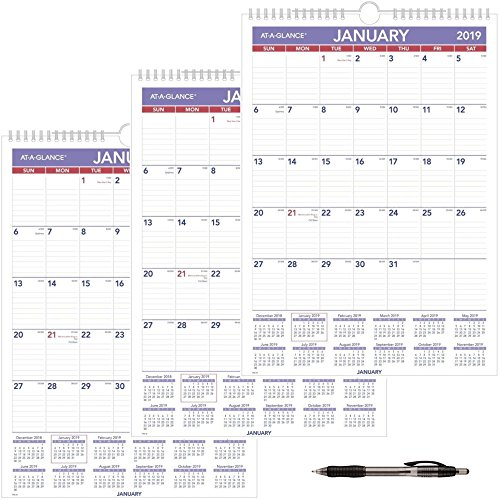 AT-A-GLANCE PM228-19 Monthly Wall Calendar, January 2019 - December 2019, 12