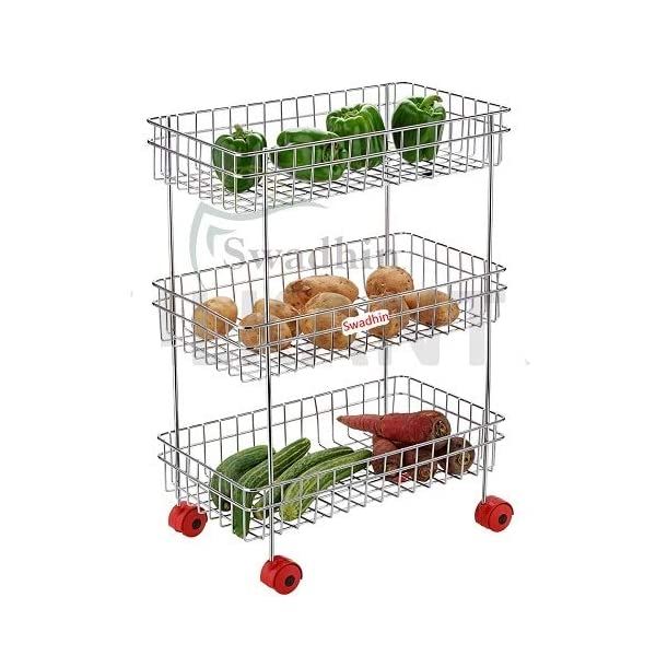 Swadhin 3 Layer Fruit and Vegetable Stand/Basket/Trolley Modern Kitchen Storage Rack (22 H x 16 L x 9 W (Inch)) (3 Layer Trolley)
