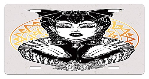 Lunarable Vampire License Plate, Beautiful Young Undead Monster Lady Weird Gothic Tattoo Artwork Halloween Theme, High Gloss Aluminum Novelty Plate, 5.88 L X 11.88 W Inches, Multicolor ()